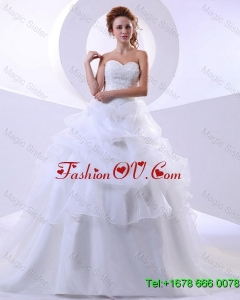 Fashionable Ball Gown Sweetheart Lace Wedding Dresses with Chapel Train