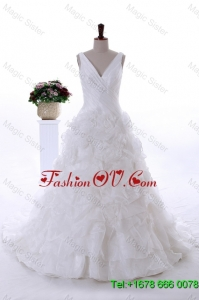 Most Popular Ruffles Wedding Dresses with Court Train