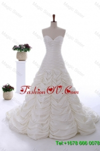 Perfect 2016 Brush Train Wedding Dress with Ruching and Pick Ups