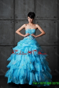 Perfect Ball Gown Appliques and Ruffles Wedding Gowns in Aqua Blue