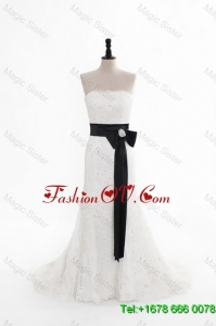 Perfect Column Strapless Wedding Dresses with Beading and Belt