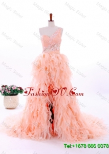 Romantic A Line One Shoulder Ruffles Wedding Gowns in Watermelon Red