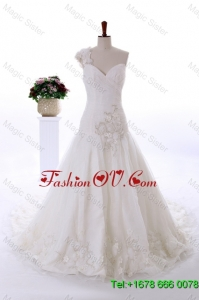 Wonderful Appliques and Hand Made Flowers Court Train Wedding Gowns