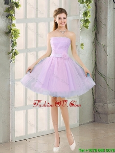Custom Made A Line Strapless Ruching Bridesmaid Dresses with Belt