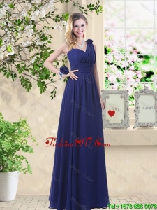 Classical Hand Made Flowers Bridesmaid Dresses with Asymmetrical