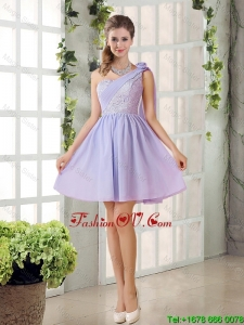 Pretty A Line One Shoulder prom Dresses with Hand Made Flowers