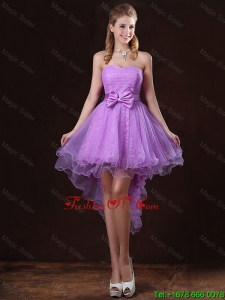 Pretty Strapless Bowknot Bridesmaid Dresses with High Low