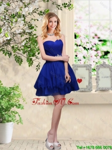 Simple Sweetheart Royal Blue prom Dresses with Belt
