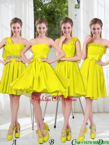 2016 Summer Simple One Shoulder Bridesmaid Dresses in Yellow Green