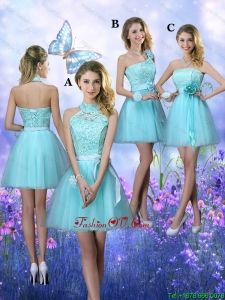 Beautiful A Line Aqua Blue prom Dresses with Appliques