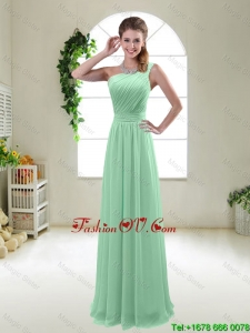 Classical Apple Green One Shoulder prom Dresses with Zipper up
