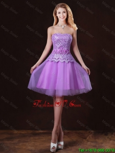 Classical Laced and Appliques prom Dresses with Strapless