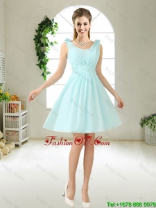 Comfortable Straps Light Blue prom Dresses with Hand Made Flowers