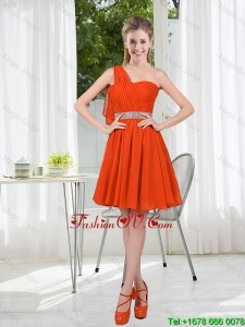 Rust Red One Shoulder Bridesmaid Dresses with Beading and Belt