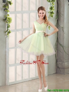 2016 Fall A Line Strapless Short Bridesmaid Dresses with Ruching