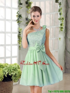 Custom Made One Shoulder Lace 2016 Bridesmaid Dresses with Bowknot