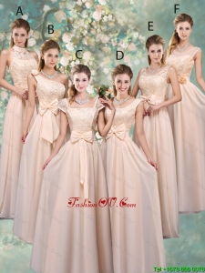 Luxurious Champagne Bridesmaid Dresses with Lace and Bowknot