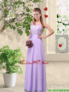Comfortable Hand Made Flowers Bridesmaid Dresses with Lace