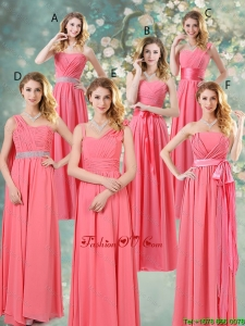 Fashionable Ruched Bridesmaid Dresses in Watermelon Red