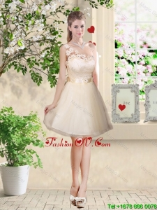 Pretty One Shoulder Champagne Dama Dresses with Appliques
