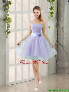 2016 Summer A Line Strapless Prom Dresses with Hand Made Flowers