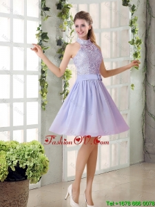 Beautiful A Line High Neck Lace Prom Dresses with Lavender