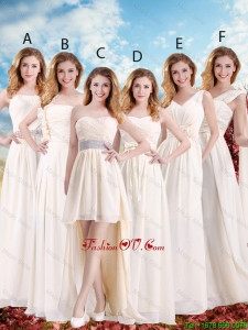 Elegant Empire Champagne Prom Dresses with Hand Made Flowers