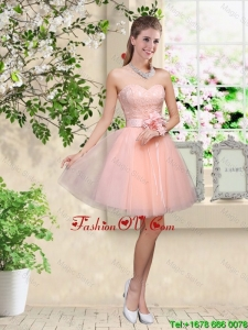 Elegant Sweetheart Baby Pink Dama Dresses with Appliques and Belt