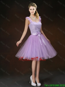 Luxurious Appliques and Bowknot Dama Dresses with Straps