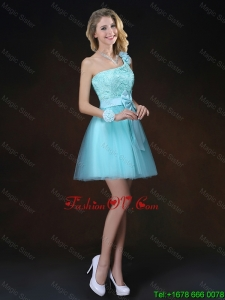 Perfect Bowknot Appliques Dama Dresses with One Shoulder