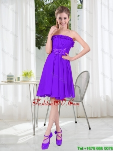 2016 Fall Popular A Line Strapless Modest Prom Dress with Bowknot