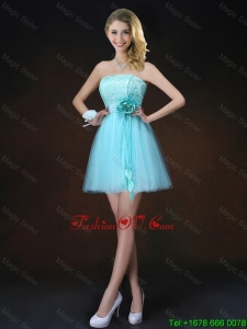 Cheap Lace Short Prom Dresses in Aqua Blue
