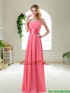 Cheap Watermelon Red Prom Dresses with One Shoulder