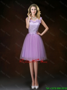 Classical Scoop Prom Dresses with Hand Made Flowers