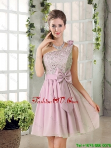 Discount A Line One Shoulder Pink Modest Prom Dresses with Bowknot