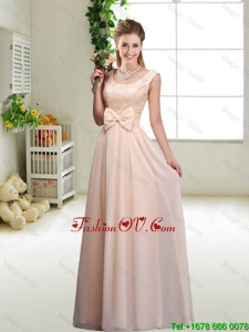Perfect Bowknot Scoop Modest Prom Dresses in Champagne