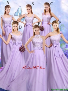 Popular Laced and Bowknot Modest Prom Dresses with Empire