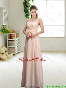Pretty Laced and Bowknot Modest Prom Dresses with Scoop