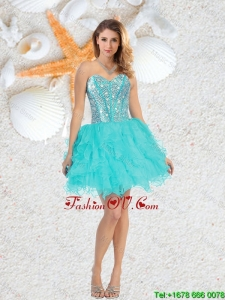 Cheap Sweetheart Beaded and Ruffles Prom Dresses in Aqua Blue