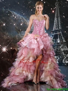 Informal High Low Beaded Multi Color Prom Dresses with Ruffles