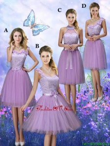 New Style Appliques Tulle Bridesmaid Dresses with Knee Length