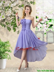 Pretty Strapless Chiffon Bridesmaid Dresses with High Low
