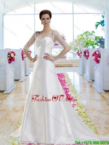 Discount A Line Court Train 2016 Wedding Dresses with Beading