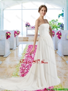 2016 Best Strapless Ruched Beach Bridal Dresses with Appliques