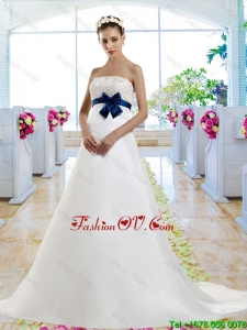 Beautiful Beaded and Bowknot 2016 Wedding Dresses with Chapel Train