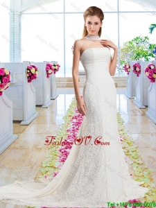 Beautiful Column Laced 2016 Wedding Dresses with Strapless