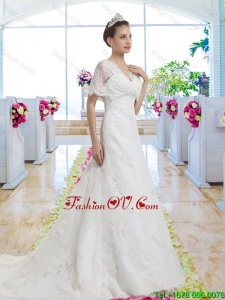 Best Selling V Neck Wedding Dresses with Short Sleeves for 2016