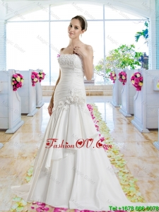Cheap Hand Made Flowers 2016 Wedding Dresses with Appliques
