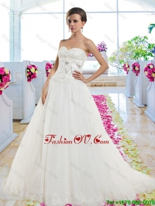 Cheap Sweetheart 2016 Wedding Dresses with Appliques and Bowknot