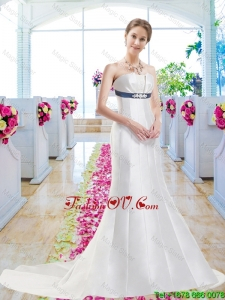 Discount Column 2016 Wedding Dresses with Belt and Appliques